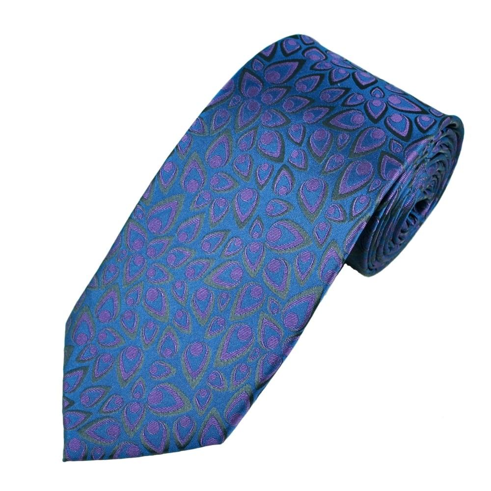 Petrol Blue Amp Purple Flame Patterned Men S Silk Tie From