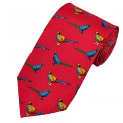 Pheasants Red Silk Novelty Tie