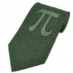Pi Sign Green Silk Novelty Tie