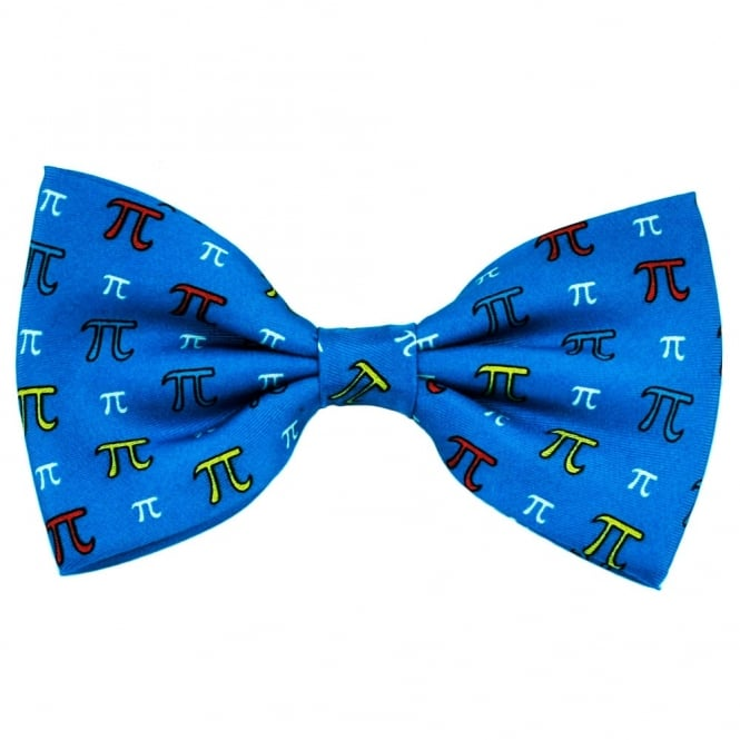Pi Sign Maths Blue Silk Novelty Bow Tie