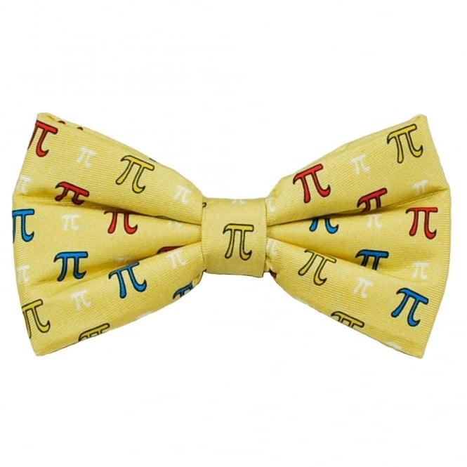 Pi Sign Maths Yellow Silk Novelty Bow Tie