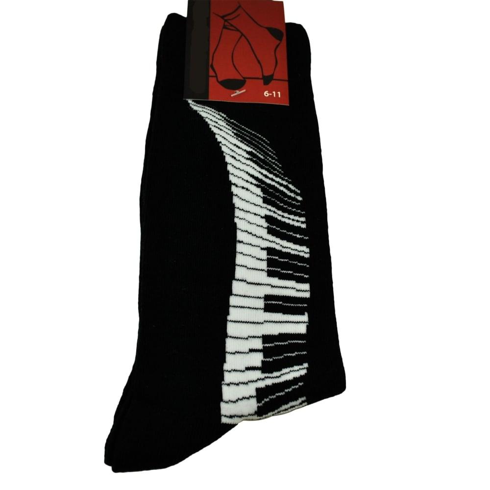 Piano Keyboard Keys Swirl Black Men's Novelty Socks