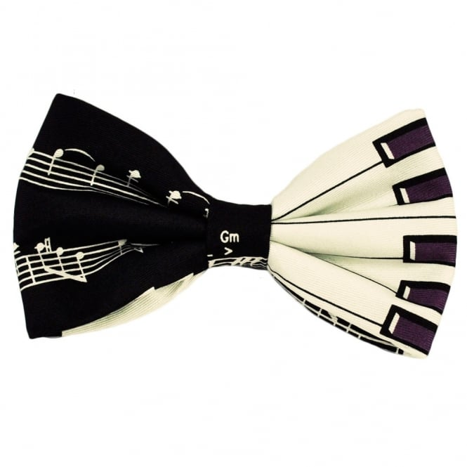 Piano Keyboard Silk Novelty Bow Tie