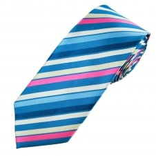 Pink, Beige, White & Shades Of Blue Striped Men's Extra Long Tie
