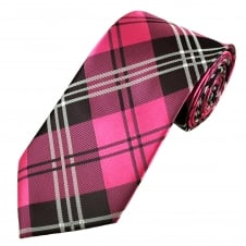 Pink & Black Check Pattern Men's Tie
