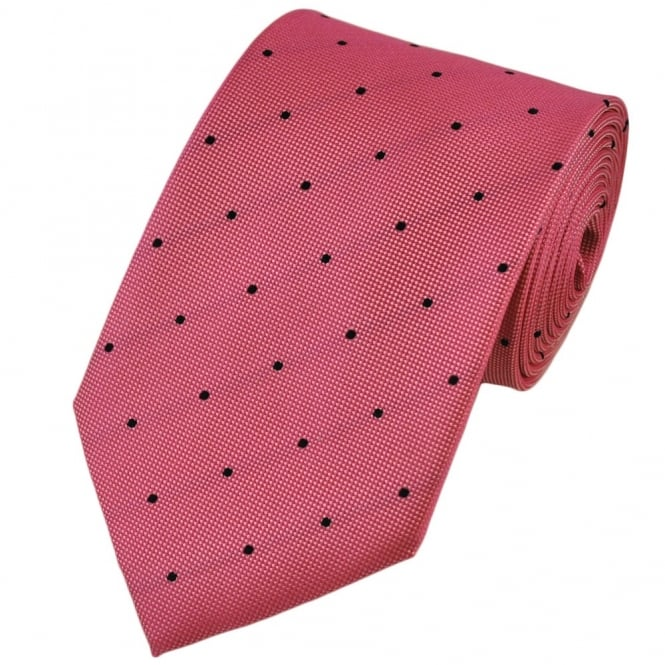Pink & Black Silk Polka Dot Tie