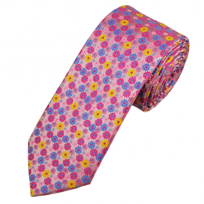 Pink, Blue & Yellow Flower Patterned Men's Tie