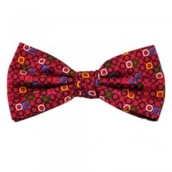Pink Circles Silk Bow Tie