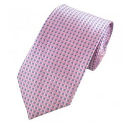 Pink & Light Blue Hexagon & Square Patterned Tie