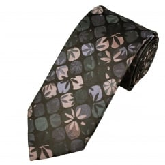 Pink, Lilac, green & Black Flower Shadow Patterned Men's Silk Tie