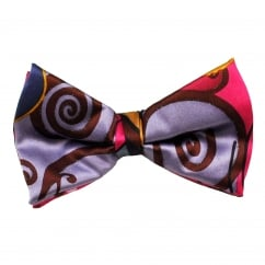 Pink, Lilac, Navy Blue & Chocolate Brown Patterned Silk Bow Tie