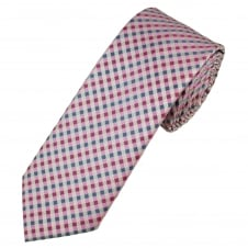 Pink, Silver & Blue Checked Men's Skinny Tie