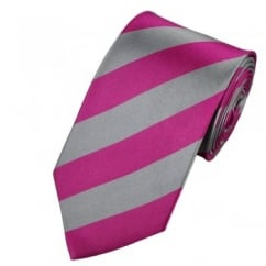 Pink & Silver Striped Silk Tie