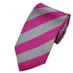 Pink & Silver Striped Silk Tie