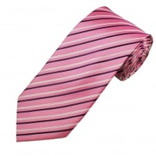Pink, White & Navy Striped Men's Tie
