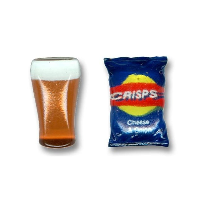 Pint Of Lager & Packet Of Crisps Novelty Cufflinks