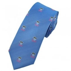Pirate Skull & Crossed Swords Lavender Blue Luxury Silk Narrow Tie