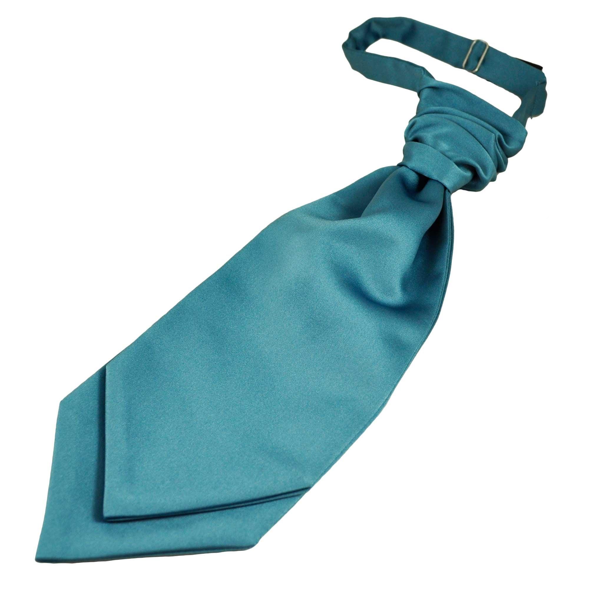 Teal blue cravat//ruched tie and pocket squares