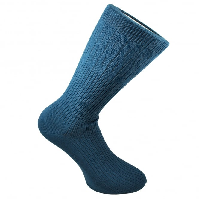 Plain Airforce Blue Ribbed Men's Socks by Peter England