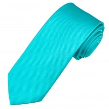 Plain Aqua Blue Men's Silk Tie