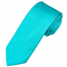 Plain Aqua Blue Narrow Men's Silk Tie