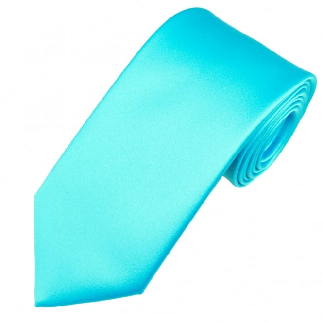Plain Aqua Blue Satin Tie