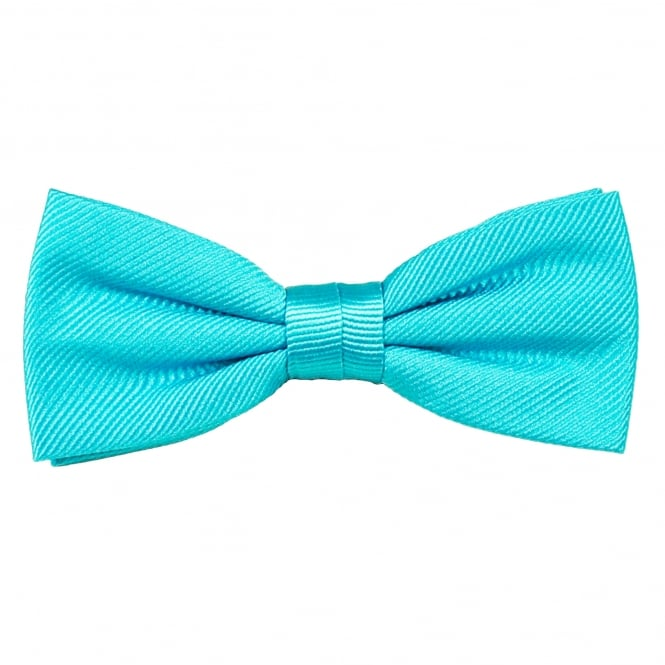 Plain Aqua Blue Silk Bow Tie