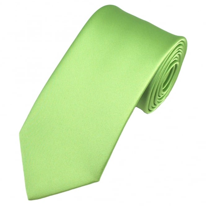 Plain Avocado Green Satin Tie