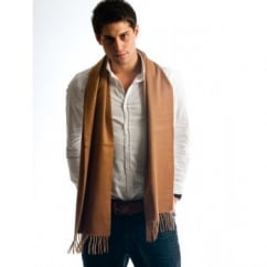 Plain Beige 100% Wool Scarf