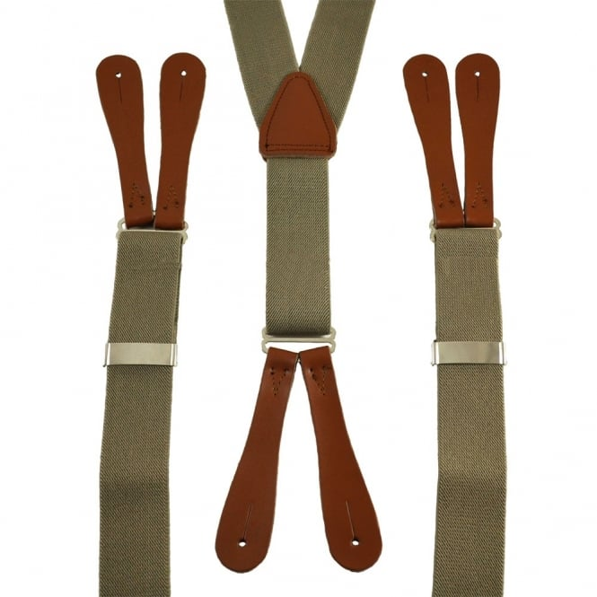 Plain Beige High Back Leather End Trouser Braces