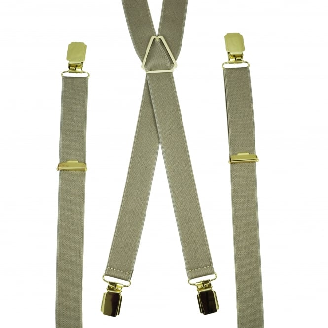 Plain Beige Skinny Men's Trouser Braces
