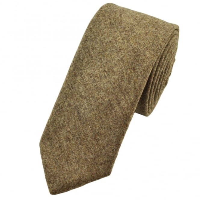 Plain Beige Wool Slim Tie by Profuomo