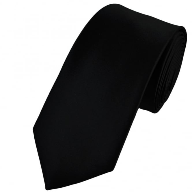 Plain Black 7cm Narrow Tie