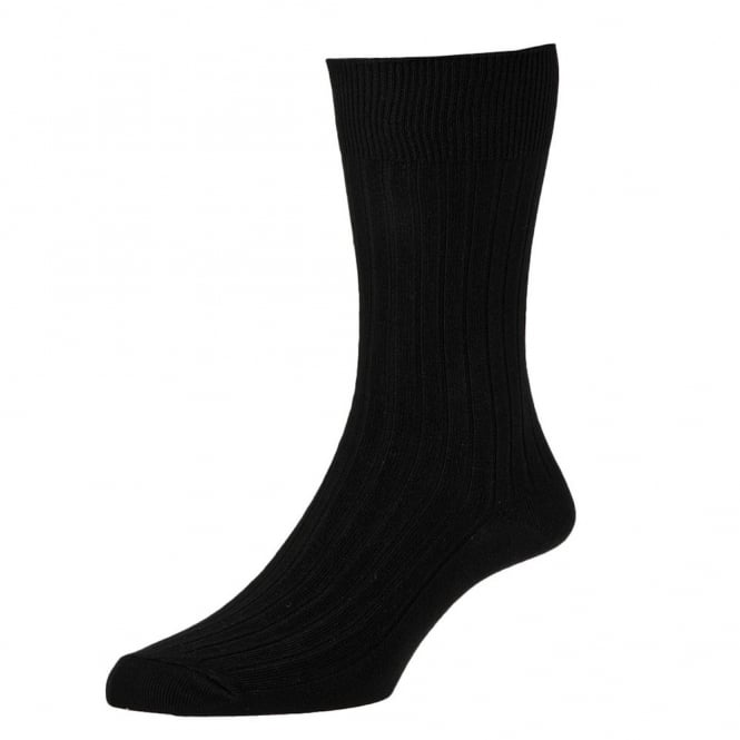 Plain Black Classic Rib Executive Men's Socks by HJ Hall