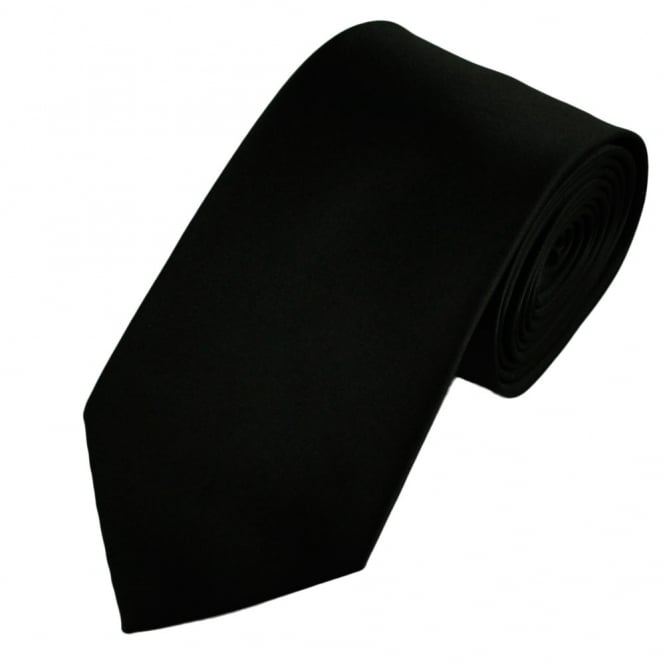 Plain Black Extra Long Satin Tie