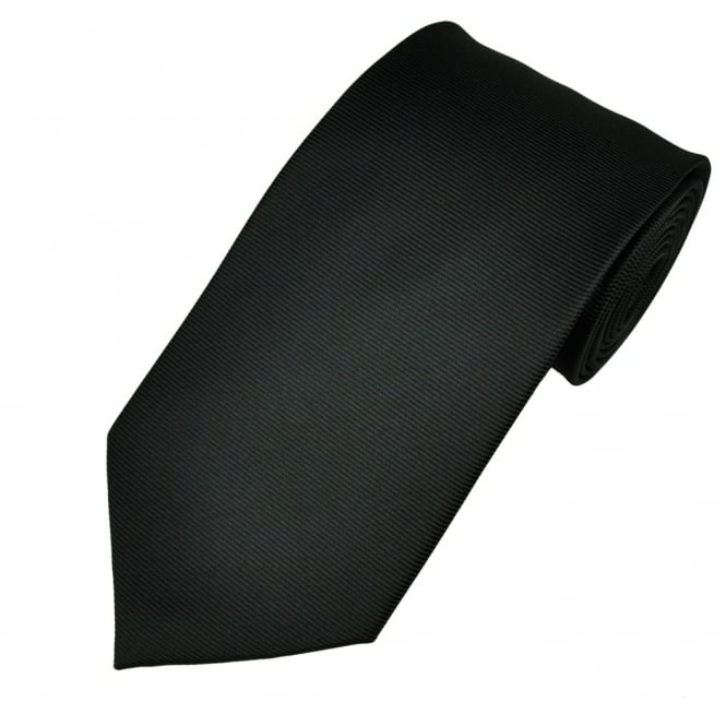 Plain Black Horizontal Ribbed Men's Tie