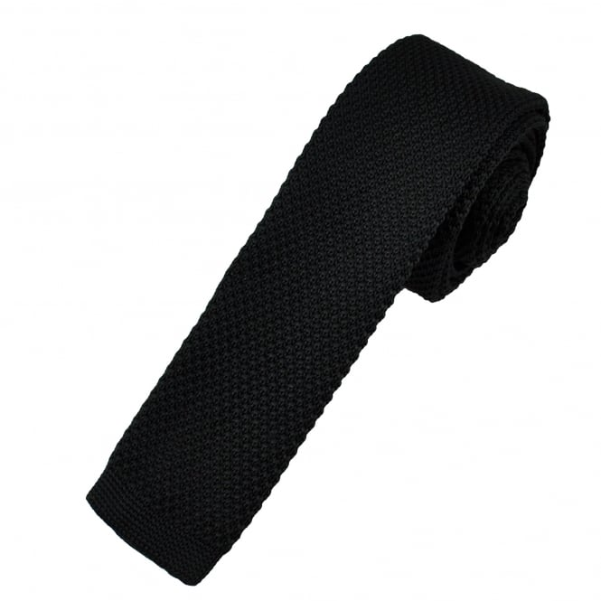 Plain Black Men's Knitted Skinny Tie