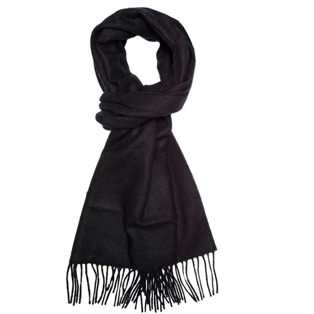 505e033c9f48 Plain Black Men s Long Wool Scarf from Ties Planet UK