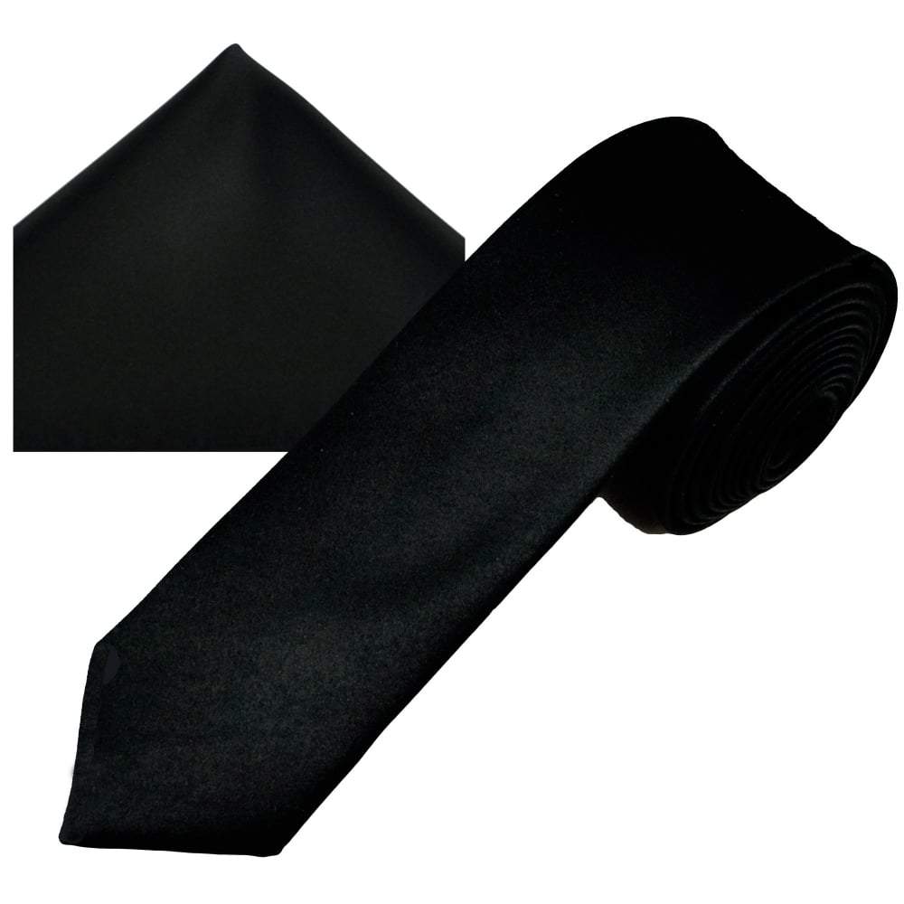 96f885a541b8 Plain Black Men's Skinny Tie & Pocket Square Handkerchief Set from Ties  Planet UK
