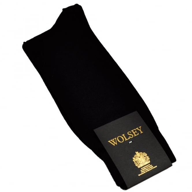 Plain Black Men's Socks by Wolsey