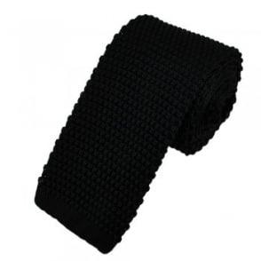 Plain Black Narrow Knitted Tie