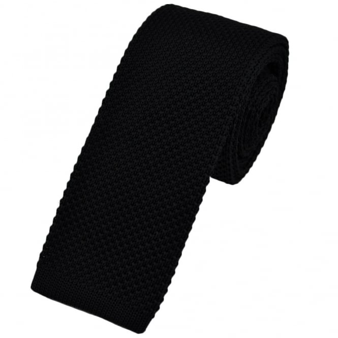 Plain Black Narrow Knitted Tie