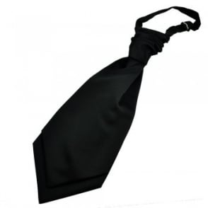 Plain Black Scrunchie Wedding Cravat