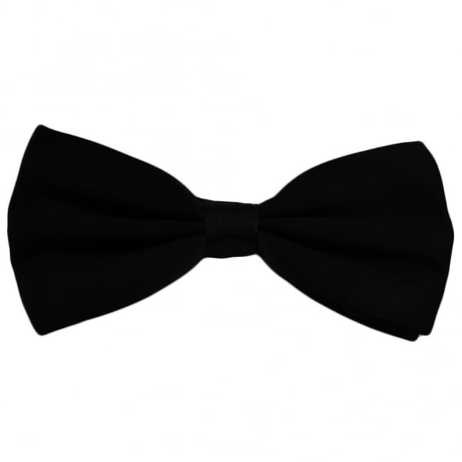 Plain Black Silk Bow Tie