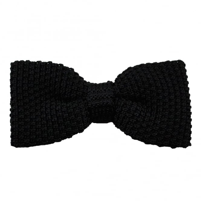 Plain Black Silk Knitted Bow Tie