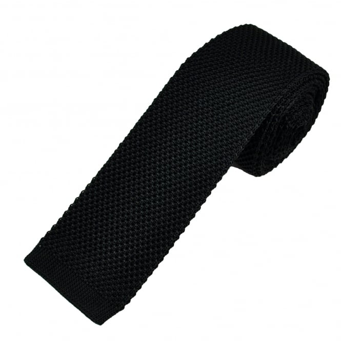 Plain Black Silk Men's Knitted Tie