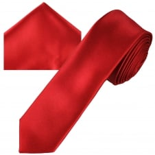 Plain Blood Red Men's Skinny Tie & Pocket Square Handkerchief Set