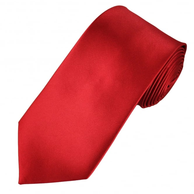 Plain Blood Red Satin Tie