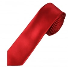 Plain Blood Red Skinny Tie