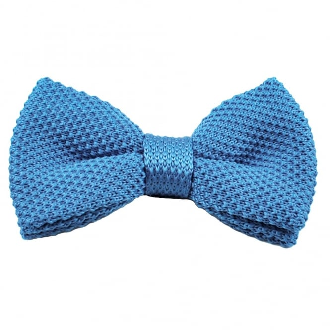 Plain Blue Knitted Bow Tie